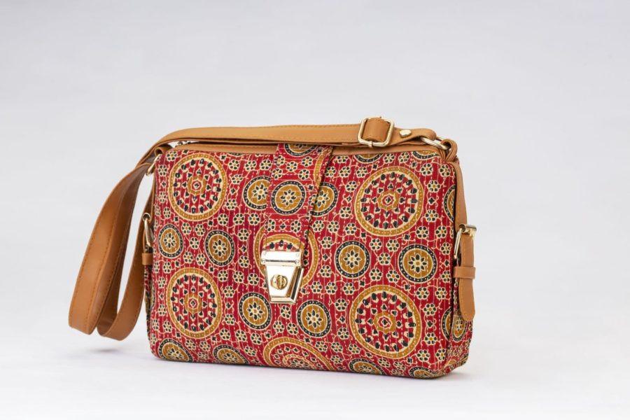 Red Mandala Motif Capsule Sling Bag-1