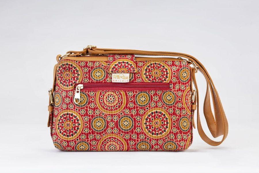 Red Mandala Motif Capsule Sling Bag-2
