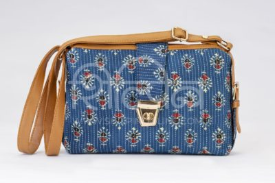 Blue Tribal Motif Capsule Sling Bag
