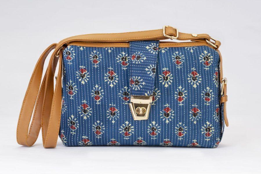 Blue Tribal Motif Capsule Sling Bag