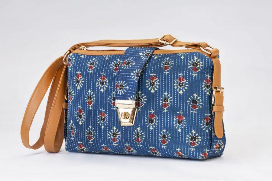 Blue Tribal Motif Capsule Sling Bag-1