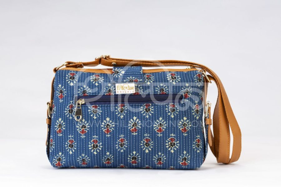 Blue Tribal Motif Capsule Sling Bag3