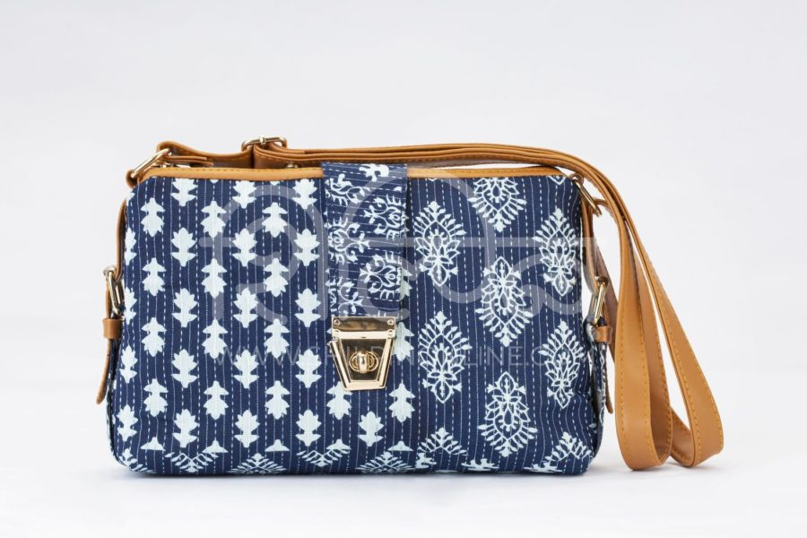 Indigo Collage Capsule Sling Bag