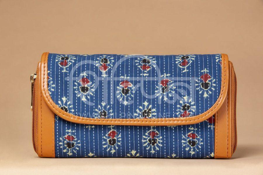 Blue Tribal Motif Double Zipped Wallet