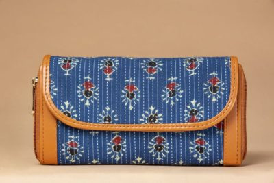 Blue Tribal Motif Double Zipped Wallet