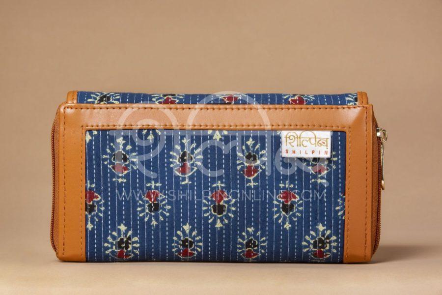 Blue Tribal Motif Double Zipped Wallet3