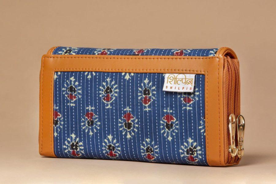 Blue Tribal Motif Double Zipped Wallet-2