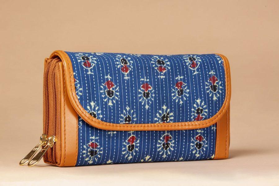 Blue Tribal Motif Double Zipped Wallet-1