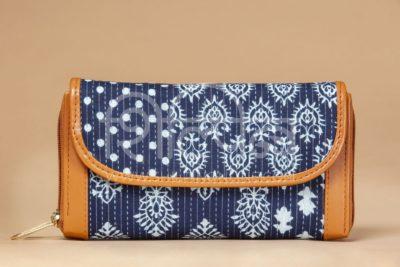 Indigo Collage Double Zipped Wallet