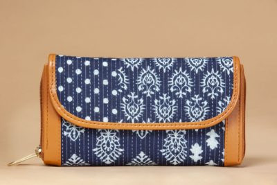 Indigo Collage Double Zipped Wallet