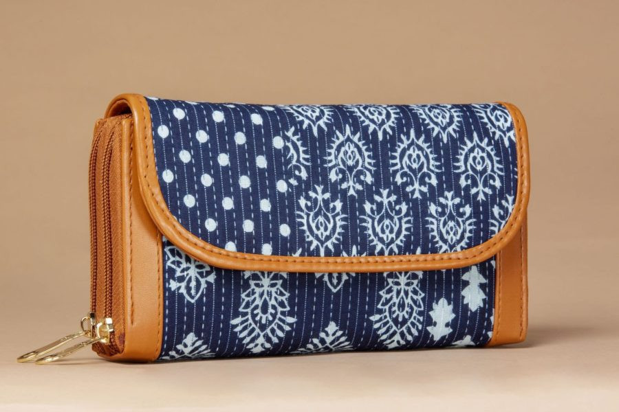 Indigo Collage Double Zipped Wallet-1