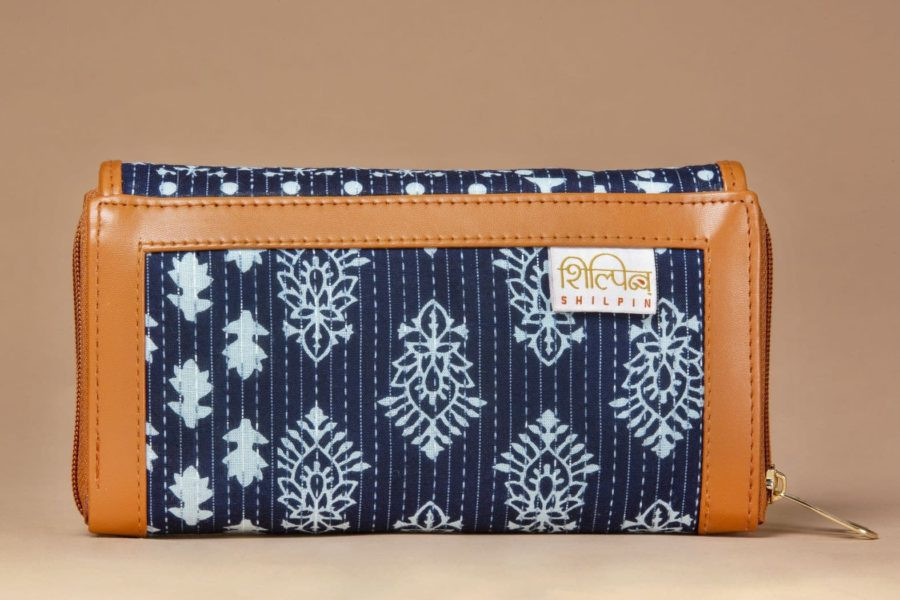 Indigo Collage Double Zipped Wallet-2