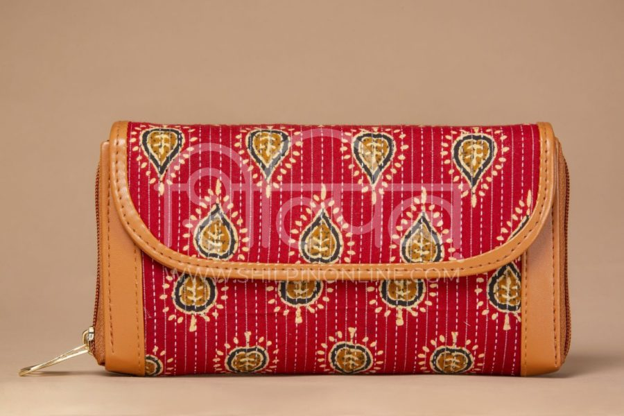 Red Spade Double Zipped Wallet