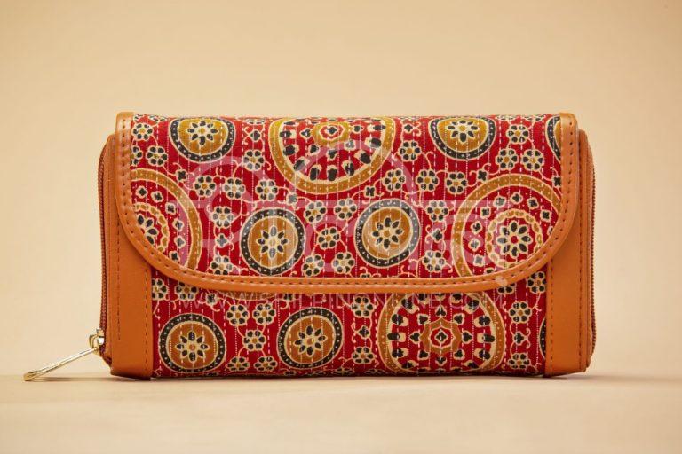 Red Mandala Motif Double Zipped Wallet