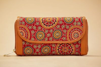 Red Mandala Motif Double Zipped Wallet