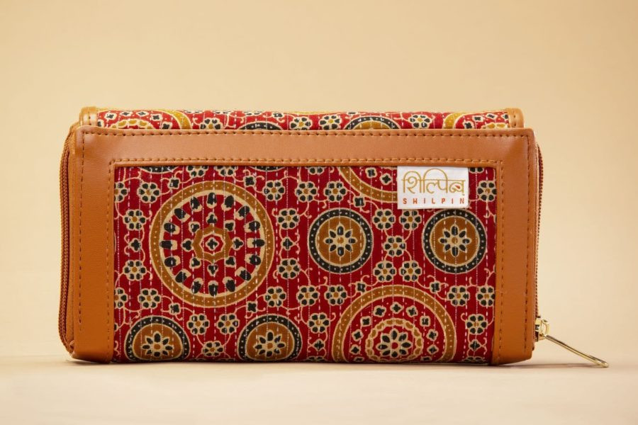 Red Mandala Motif Double Zipped Wallet-2