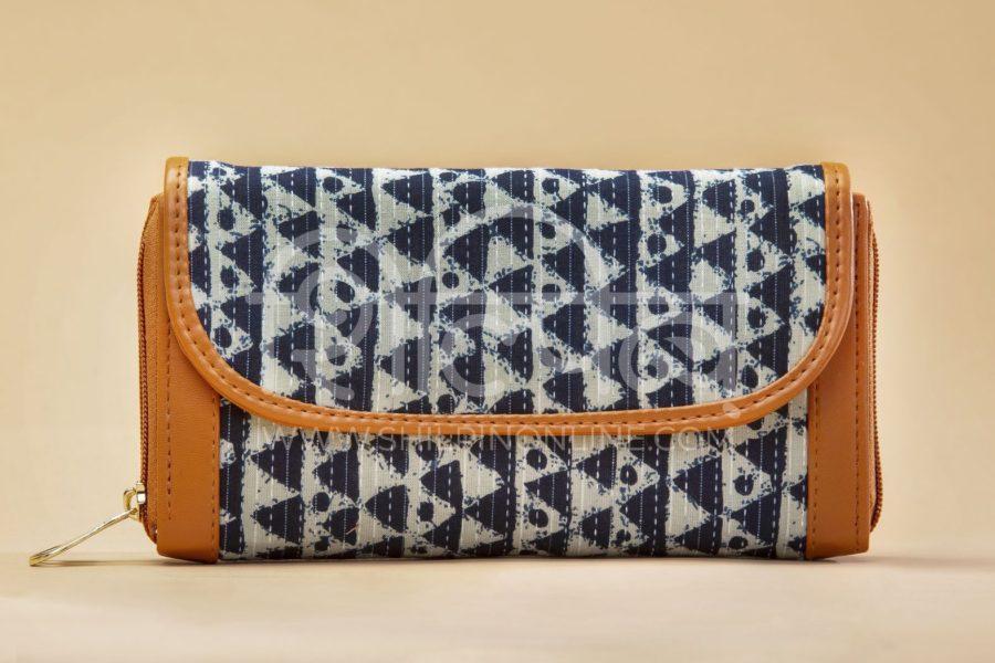 Indigo Aztec Triangle Double Zipped Wallet