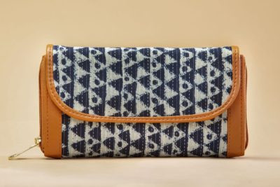 Indigo Aztec Triangle Double Zipped Wallet
