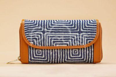 Indigo Square Double Zipped Wallet