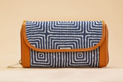 Indigo Square Double Zipped Wallet