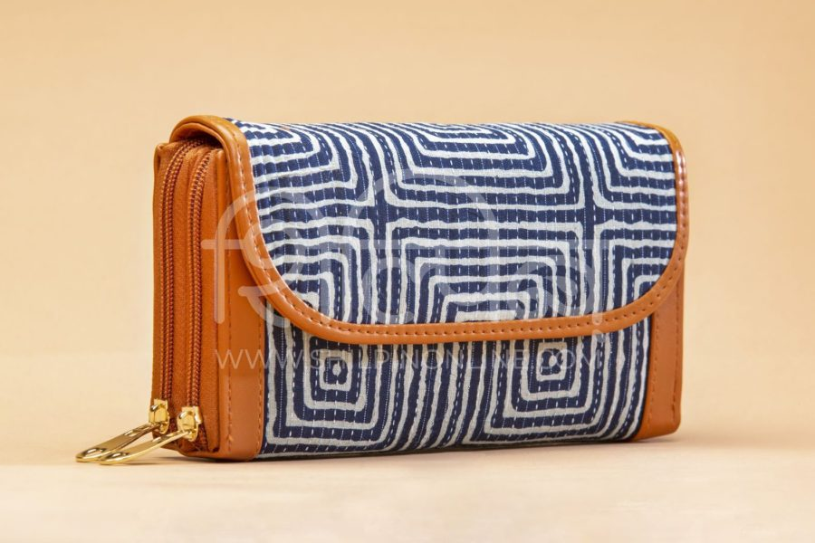 Indigo Square Double Zipped Wallet2