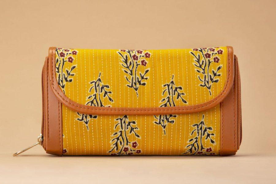MustRed Fern Block Double Zipped Wallet