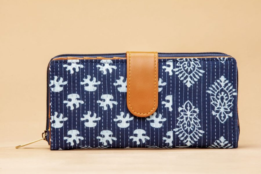 Indigo Collage Flap Wallet