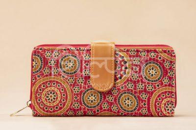 Red Mandala Motif Flap Wallet