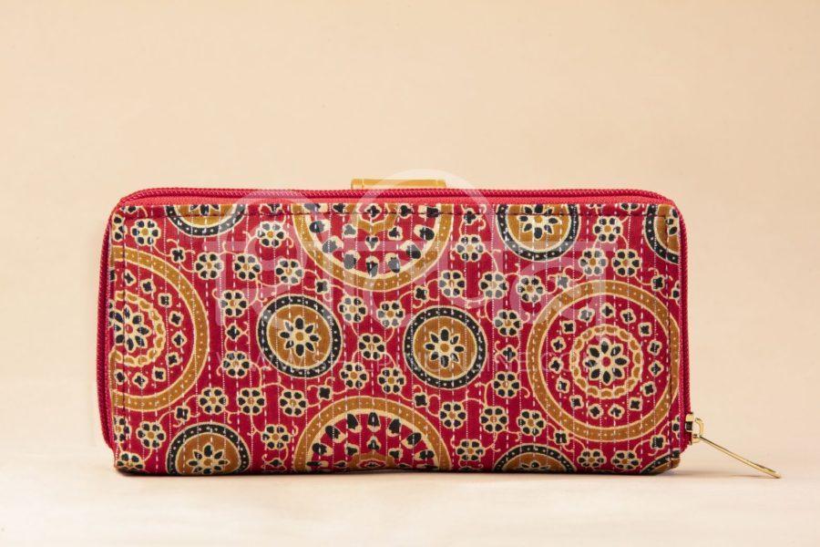Red Mandala Motif Flap Wallet3