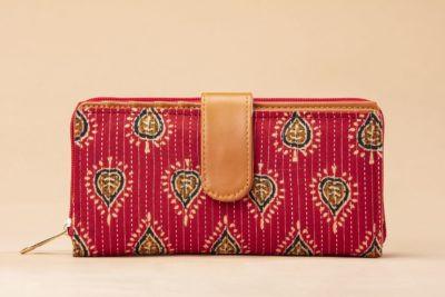 Red Spade Flap Wallet