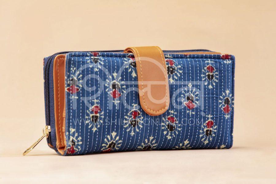 Blue Tribal Motif Flap Wallet2