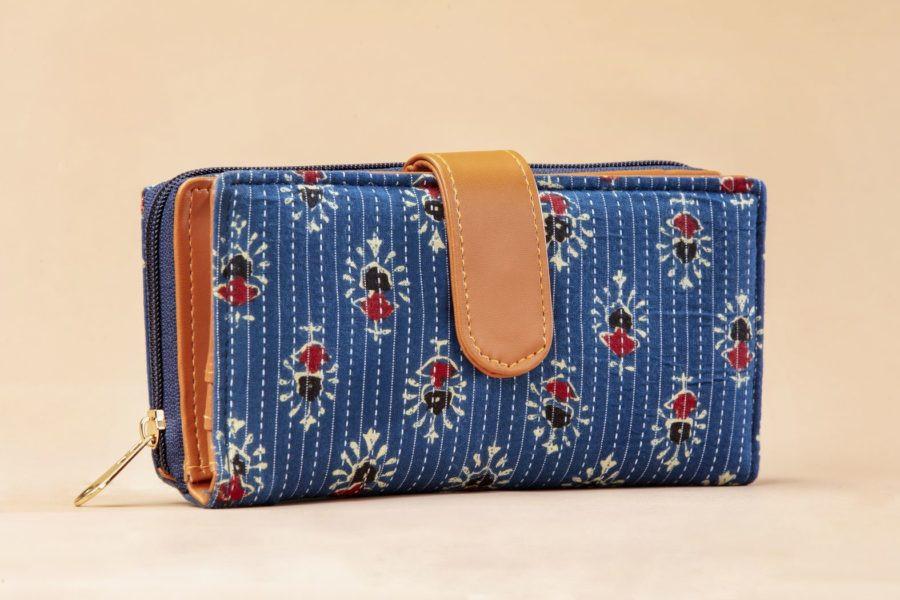 Blue Tribal Motif Flap Wallet-1
