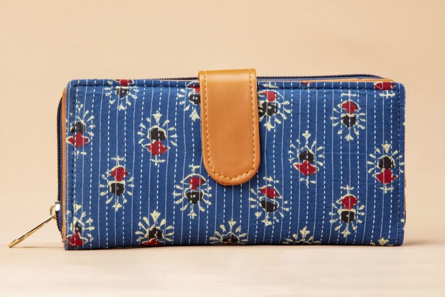 Blue Tribal Motif Flap Wallet