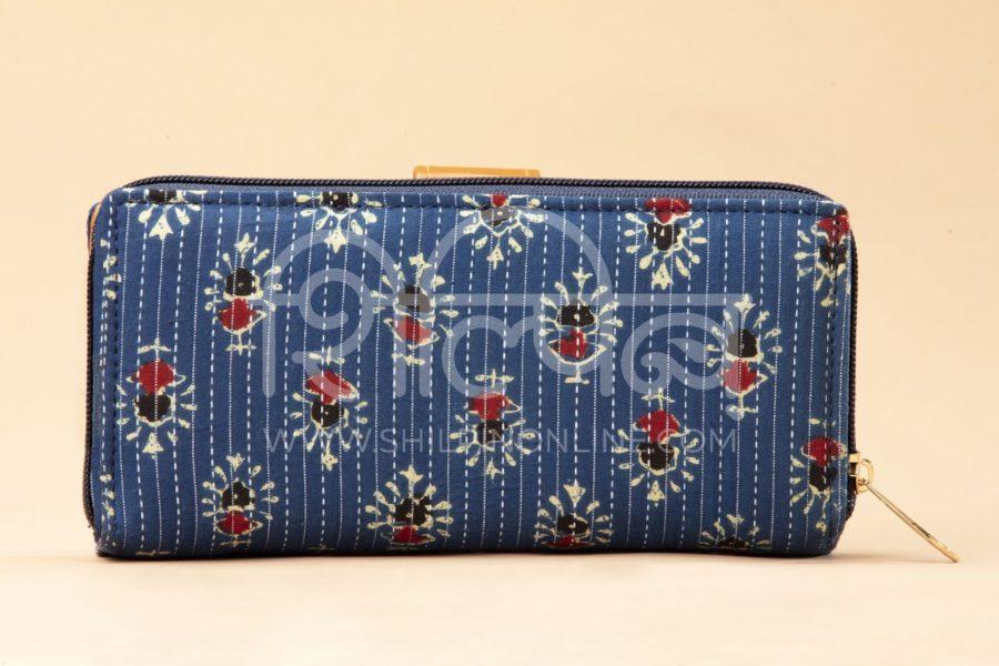 Blue Tribal Motif Flap Wallet3