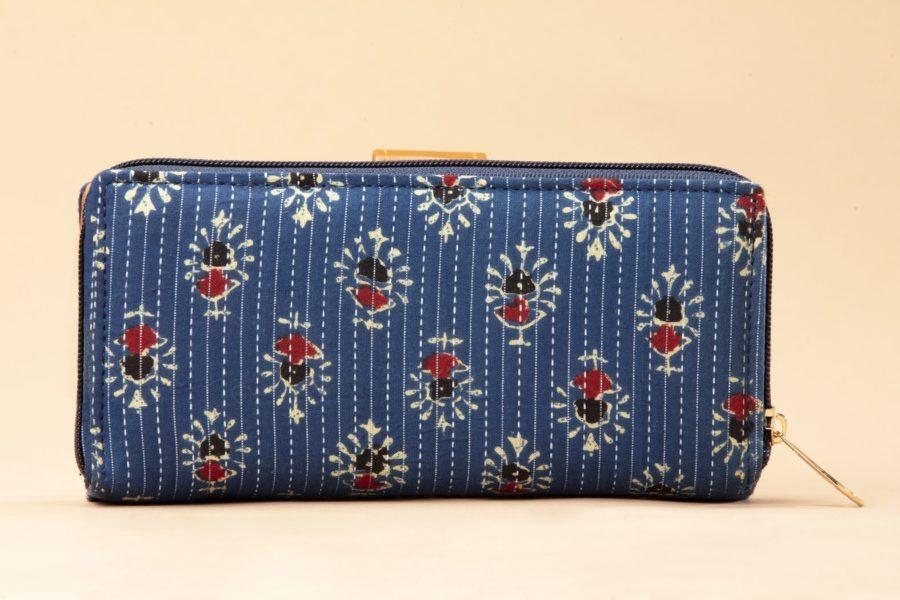 Blue Tribal Motif Flap Wallet-2