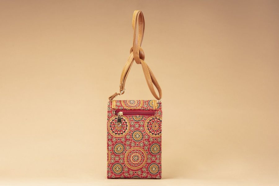 Red Mandala Motif Mobile Pouch-1