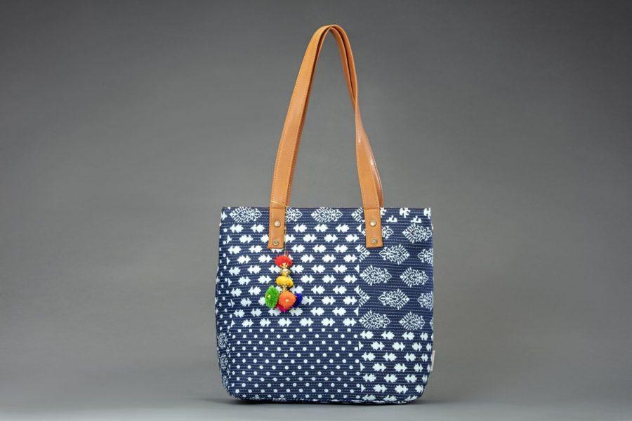 Indigo Collage Office Tote Bag