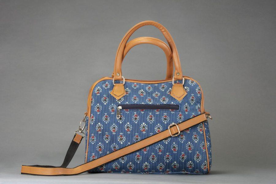 Blue Tribal Motif Block D Shoulder Bag-1