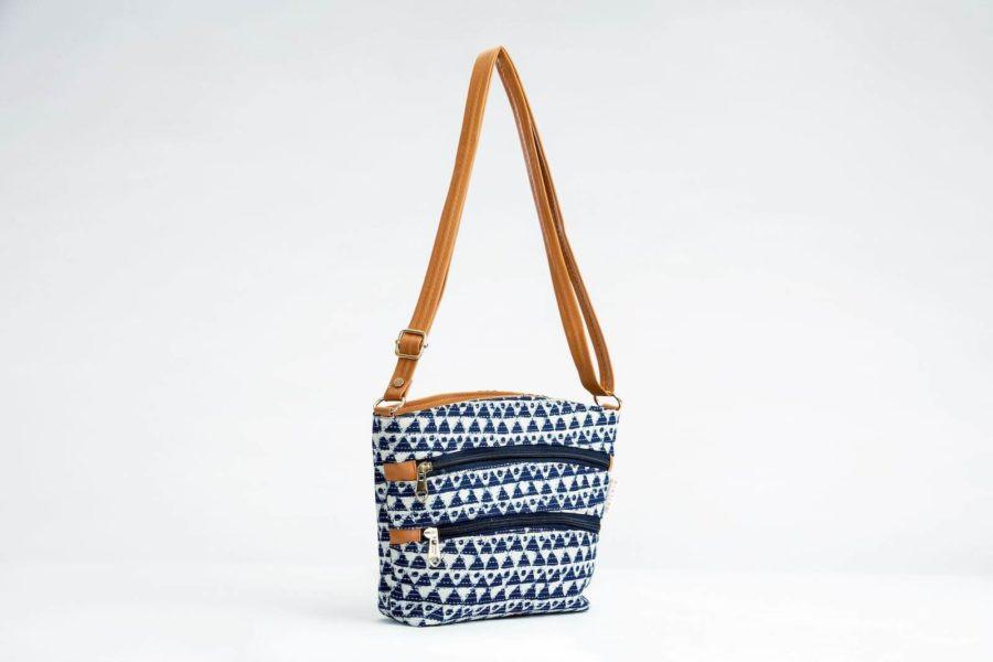 Indigo Aztec Triangle Basket Sling-1