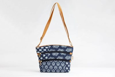 Indigo Collage Basket Sling