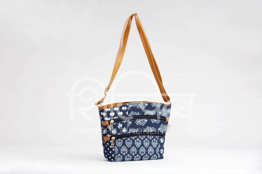 Indigo Collage Basket Sling-1