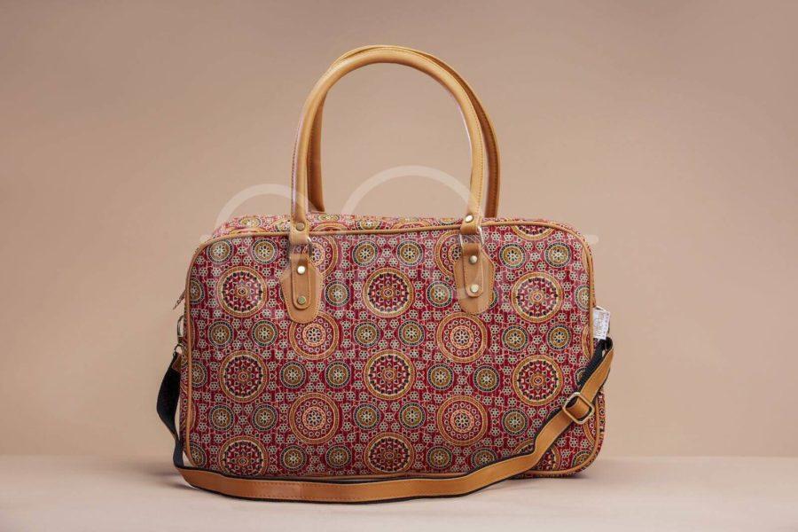 Red Mandala Motif Travel Bag