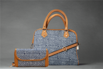 Indigo Square D Shoulder Bag + Double Zipped Wallet