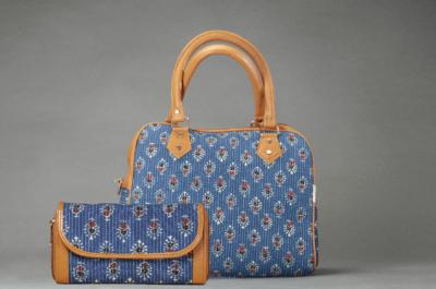 Blue Tribal Motif D Shoulder Bag + Double Zipped Wallet