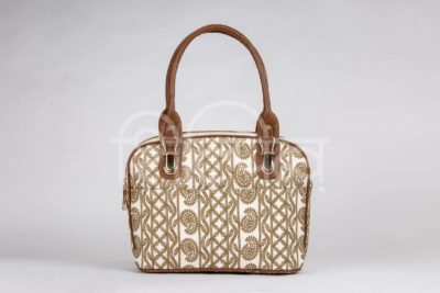 Lucknowi Stitch Ivory Base Office Handbag