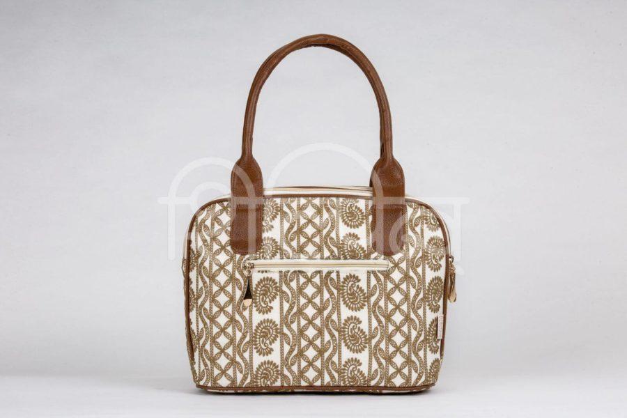 Lucknowi Stitch Ivory Base Office Handbag2