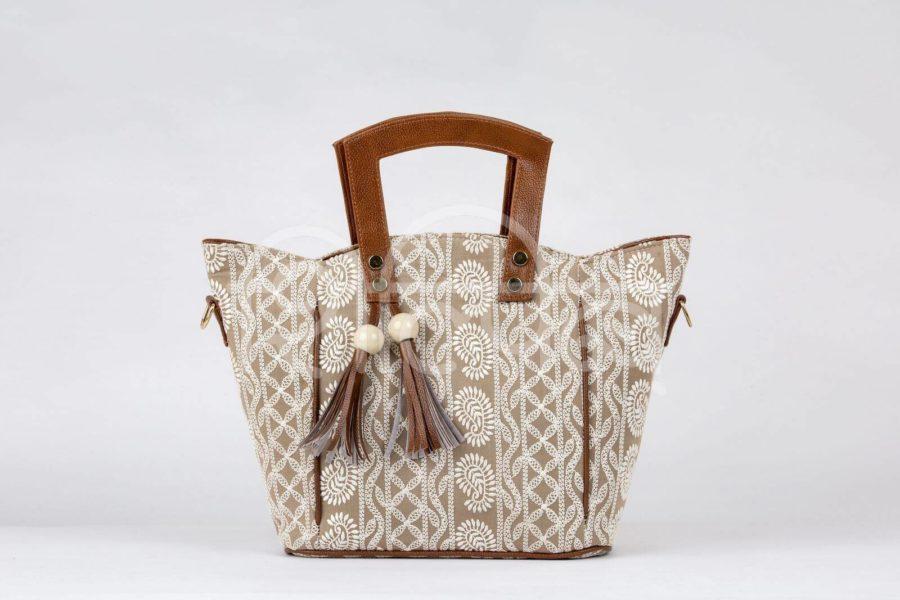 Lucknowi Stitch Sepia Shoulder Trapeze Bag