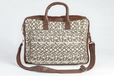 Lucknowi Stitch Ivory Base Laptop Bag