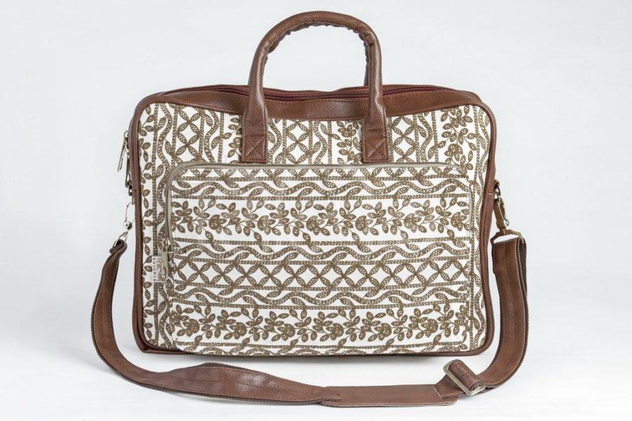 Lucknowi Stitch Ivory Base Laptop Bag
