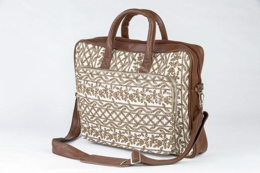 Lucknowi Stitch Ivory Base Laptop Bag2